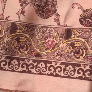Floral print fabric 1 piece NEW pale pink craft